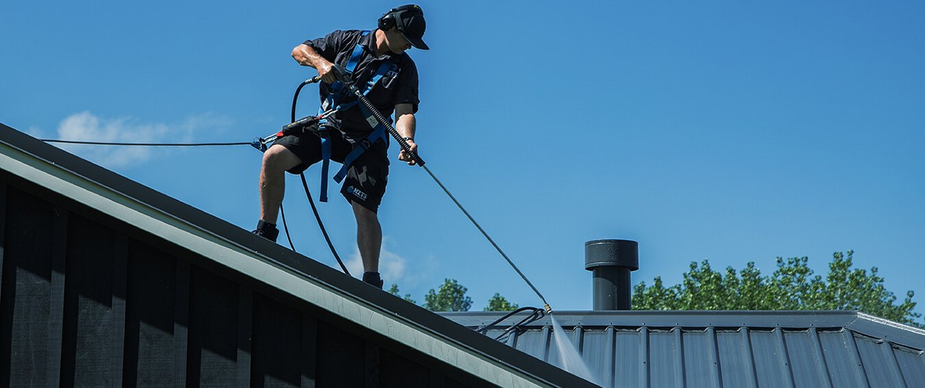 Harnessed Roof Cleaning