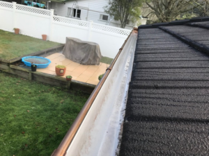 Clean gutter and roof tiles after house washing