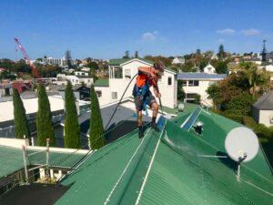 Waterblasting metal roof