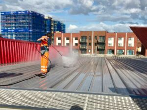 NZTS roof cleaning in progress
