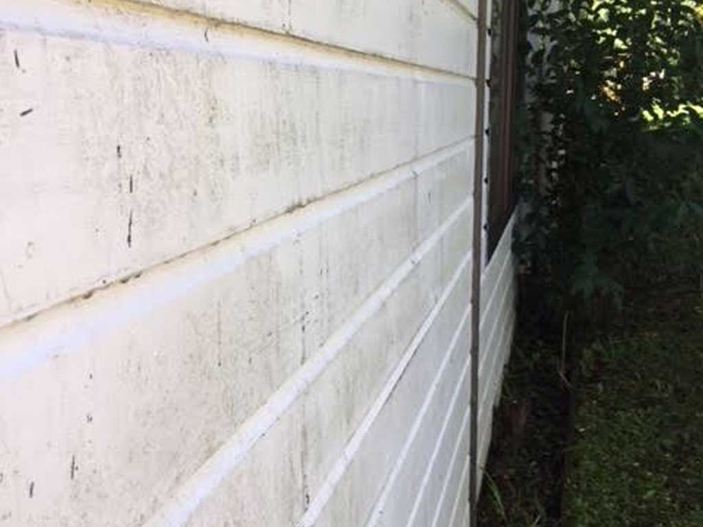 Dirty wall before house wash