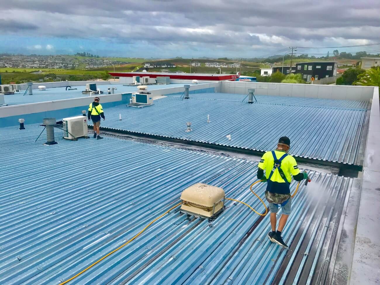 NZTS roof cleaning service in progress